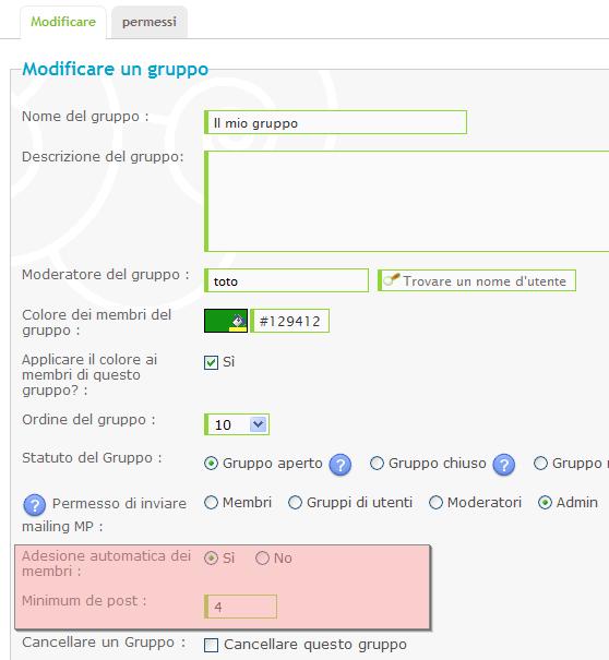 Inserire un utente automaticamente in un gruppo Adesio10
