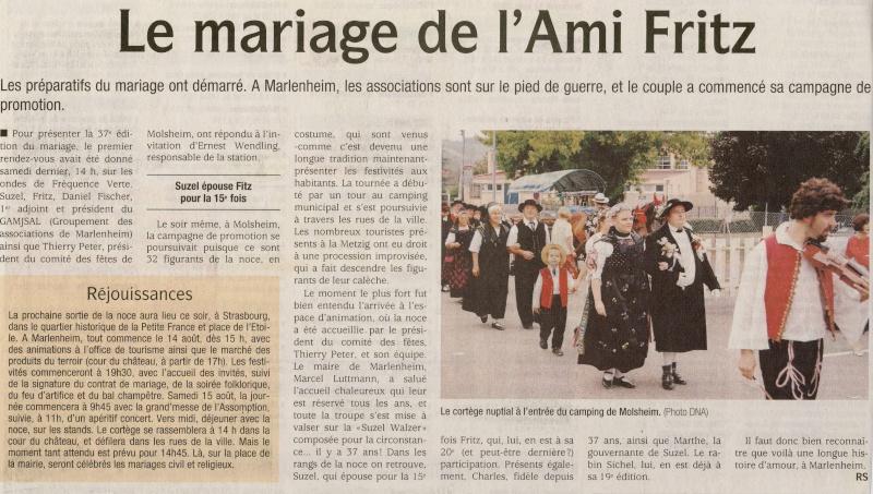 37ème édition du Mariage de l'Ami Fritz le 14 et 15 août 2009 à Marlenheim Image069