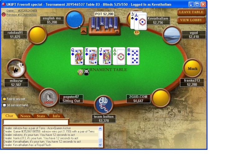 Royal Flush on Pokerstars Pokers10