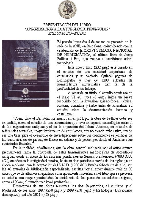 "Josep Pellicer i Bru ""APROXIMACIÓN A LA METROLOGÍA PENINSULAR"" Aproxi11"
