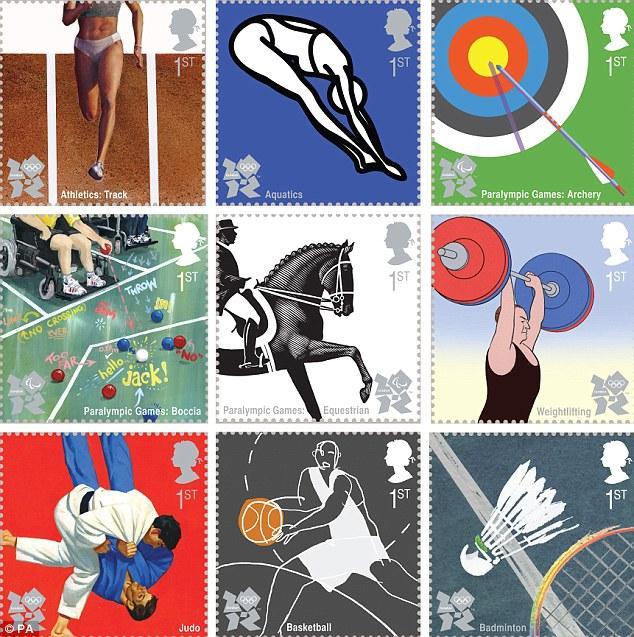 1ere série de 10 timbres des Jeux Olympiques de Londres 2012 Stamps10