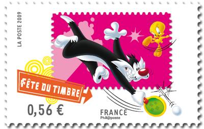"""Le timbre """"Looney Tunes - Grosminet - Fête du Timbre 2009"""" n'est pas un timbre de ping !!! Timbre13"""