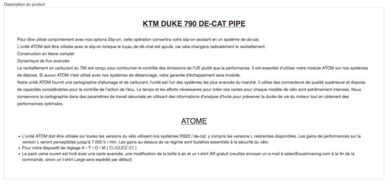 AUSTIN: Décatalyseur KTM 790 DUKE Captu127