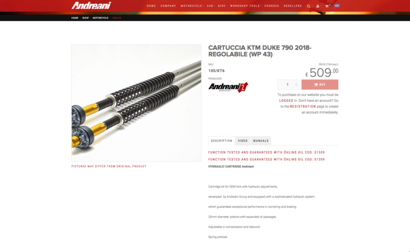 Andreani: KTM DUKE 790 2018- AJUSTABLE (WP 43) Captu181