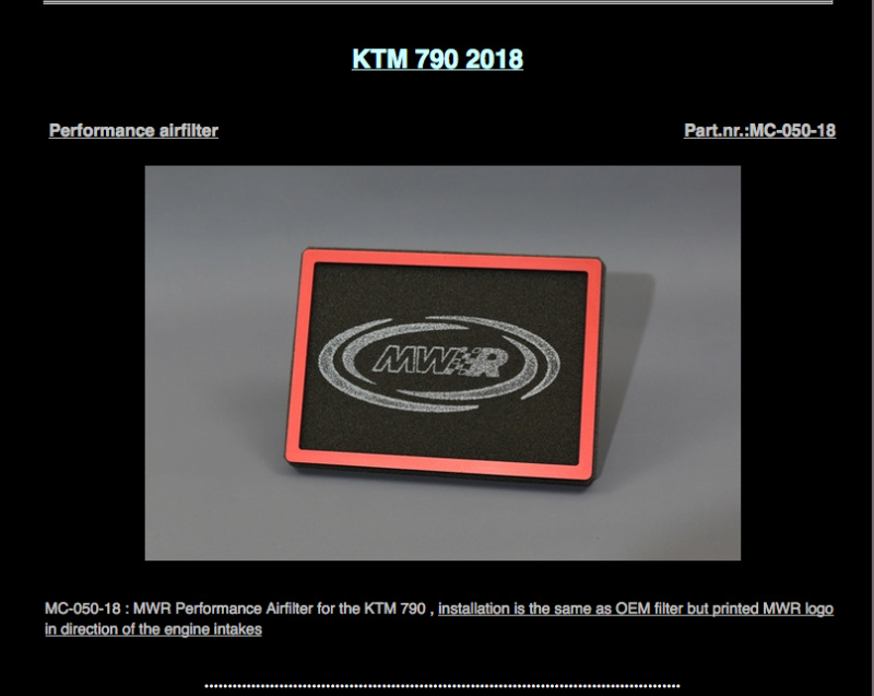 MWR airfilters for the KTM 790 Captu198