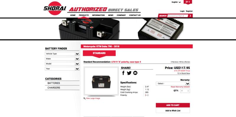 Batterie lithium KTM 790 Duke Captu242