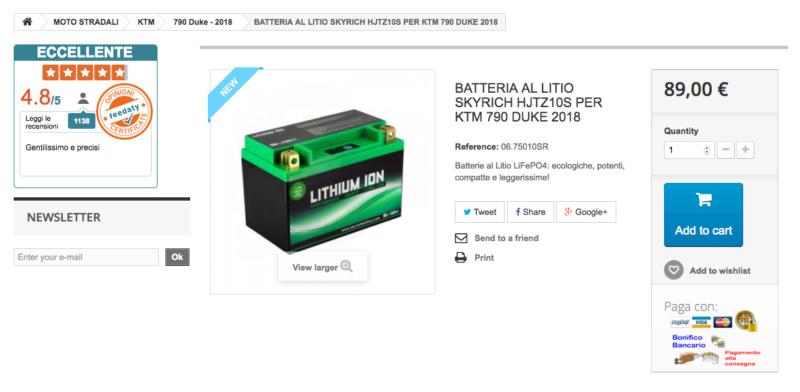 Batterie lithium KTM 790 Duke: SKYRICH Captu347