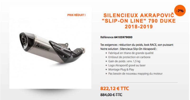 "Silencieux Akrapovič ""Slip-on Line"" 790 duke Captur89"