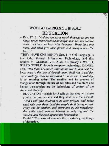 ONE WORLD MIND - ONE WORLD EDUCATION CONTROL OF CHILDREN IN NEW AGE CURRICULA, CONTROL OF YOUTH AND PEOPLES OF THE WORLD) A2310
