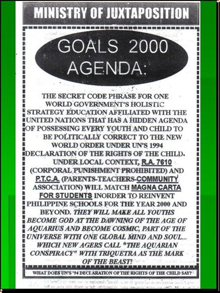 ONE WORLD MIND - ONE WORLD EDUCATION CONTROL OF CHILDREN IN NEW AGE CURRICULA, CONTROL OF YOUTH AND PEOPLES OF THE WORLD) A2410