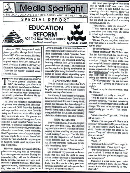 ONE WORLD MIND - ONE WORLD EDUCATION CONTROL OF CHILDREN IN NEW AGE CURRICULA, CONTROL OF YOUTH AND PEOPLES OF THE WORLD) A3810