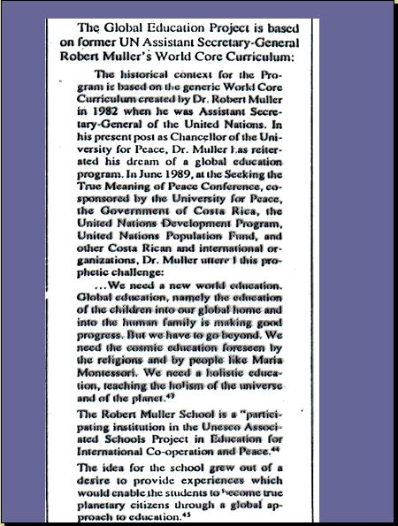 ONE WORLD MIND - ONE WORLD EDUCATION CONTROL OF CHILDREN IN NEW AGE CURRICULA, CONTROL OF YOUTH AND PEOPLES OF THE WORLD) A4411