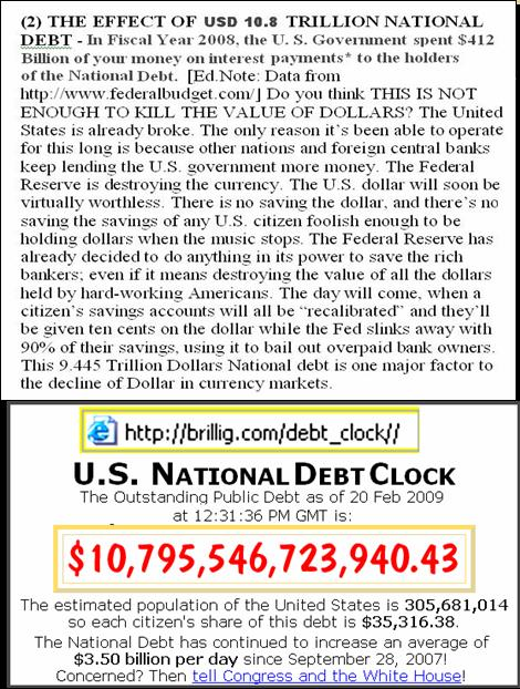 One World Market & Currency - CAUSES FOR DOLLAR DECLINE Pnypd108