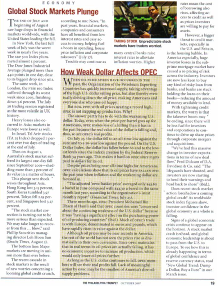 One World Market & Currency - CAUSES FOR DOLLAR DECLINE Pnypd_92