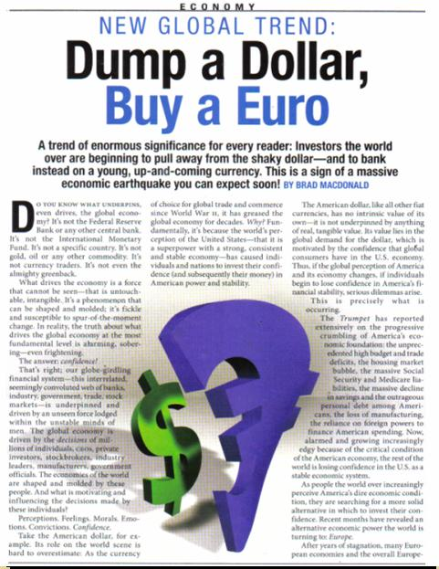 One World Market & Currency - CAUSES FOR DOLLAR DECLINE Pnypd_93