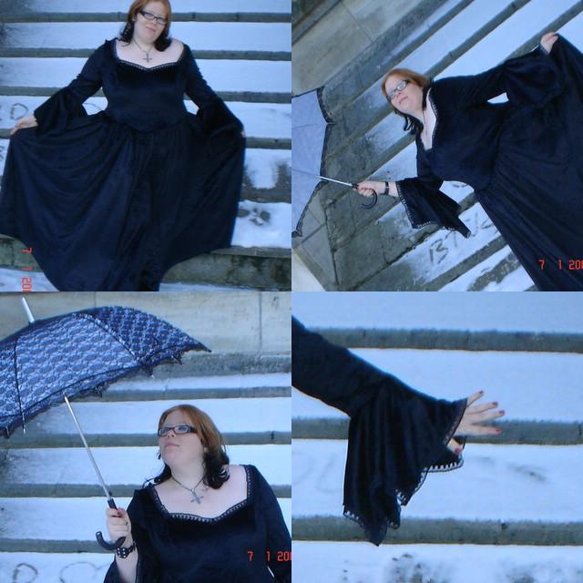 Tulipe-noire créa ... tenue alice aux pays des enfers revisité ,  cape polaire , tenu en vinyl pour sombre poupée , le tout porté sur mes clientes =) en ligne Collag10