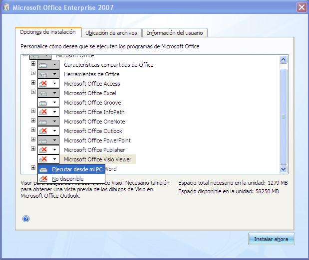 No instalar o desinstalar programas de M. Office Office10