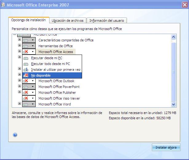 No instalar o desinstalar programas de M. Office Office12