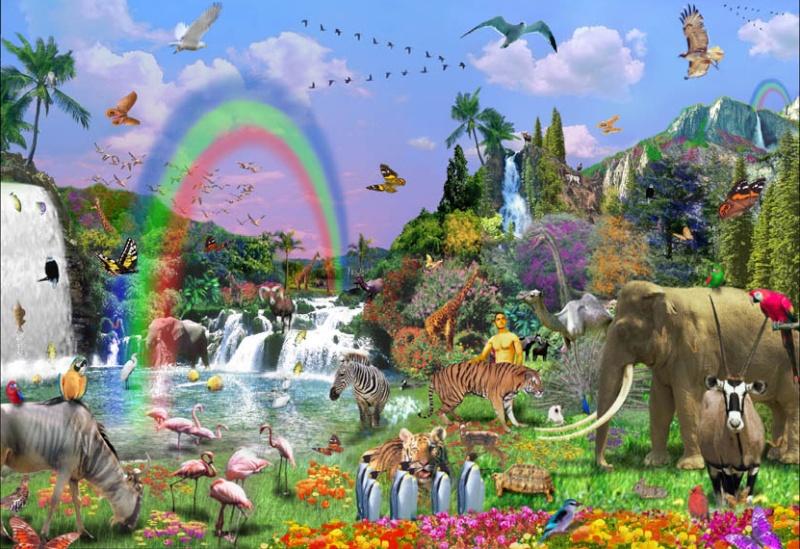 HOLY BIBLE : Hauv Paus ( piav txog Tswv Ntuj tsim lub ntuj tsim lub teb. 1 : 1 - 31 + 2 : 1 - 4. ) Garden10