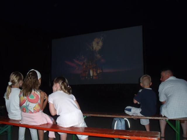 Cinéma en plein air au Freihof à Wangen le vendredi 7 août 2009 à la tombée de la nuit.. Dscf5712