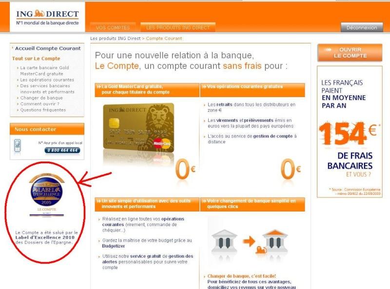 Label d'excellence 2010 des Dossiers de l'Epargne pour Le Compte Courant Le_com10