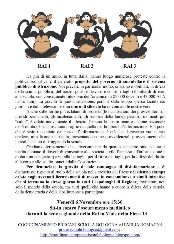 06 novembre. CPS Nazionale: Sit-in sotto le sedi RAI Volant10