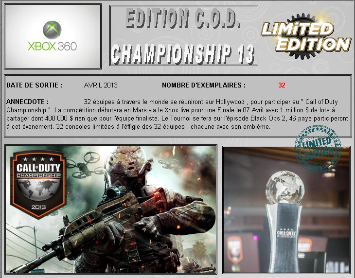 XBOX 360 : Edition CALL OF DUTY 2013 Championship Cod_2010
