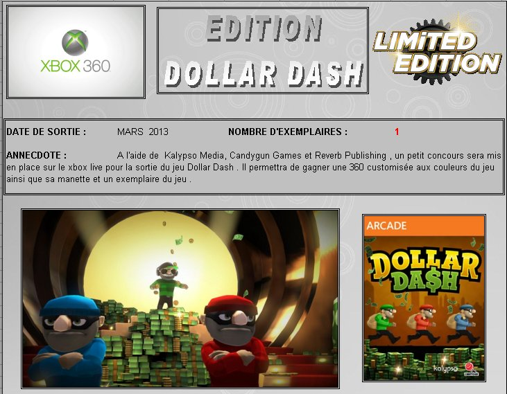 XBOX 360 : Edition DOLLAR DASH Dollar10
