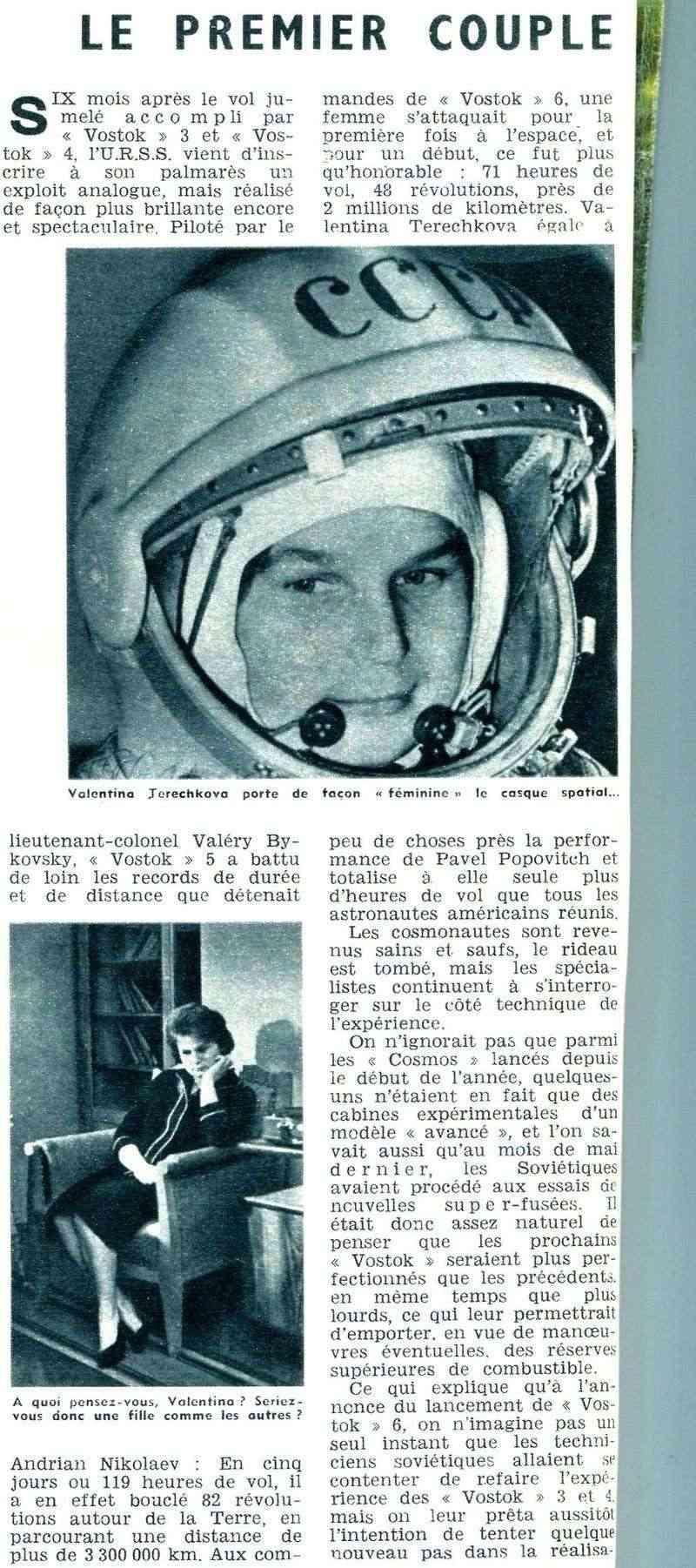 Vostok 5, Vostok 6 - 14, 16 juin 1963 - 1ers vols conjoints 63070110