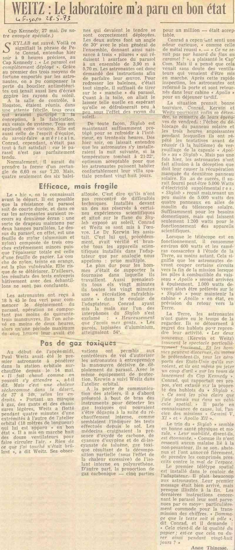 14 mai 1973 - Skylab - Seule station spatiale américaine - Page 2 73052810