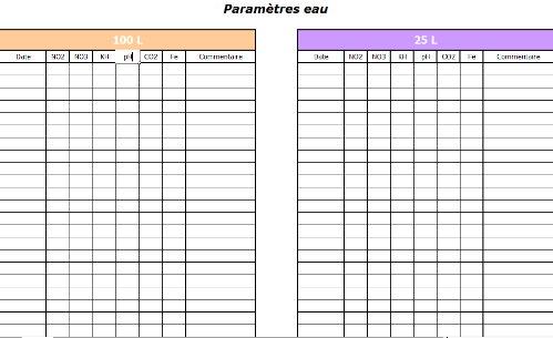 Tableau suivi paramètres d'eau Parame10