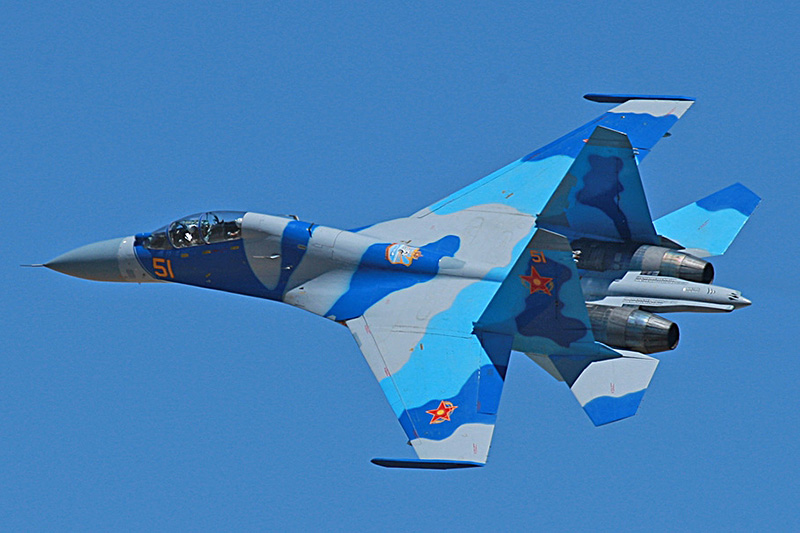 Four 1/72nd scale Flankers Su410