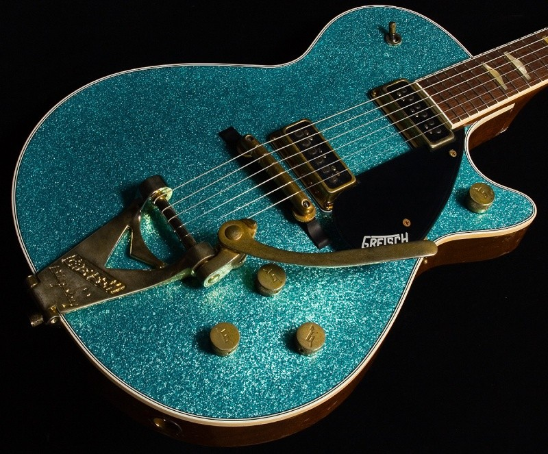 1957 Gretsch Turquoise Sparkle Duo Jet G6128 CS Relic 1_10