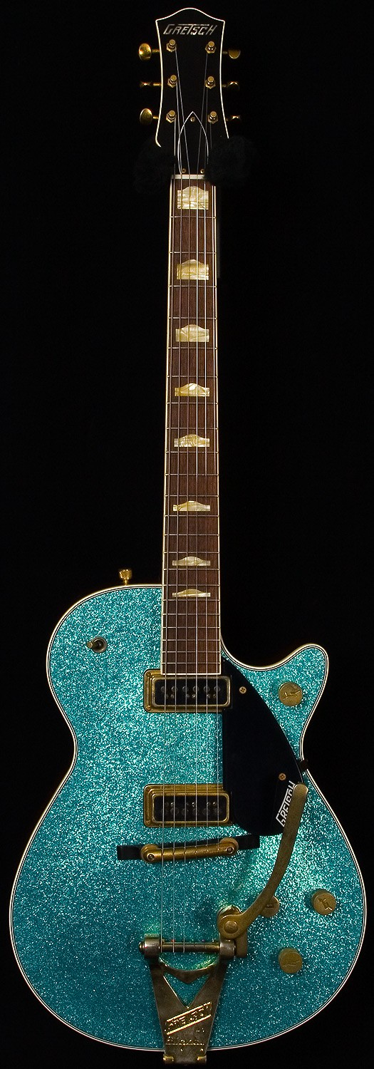 1957 Gretsch Turquoise Sparkle Duo Jet G6128 CS Relic 2_10