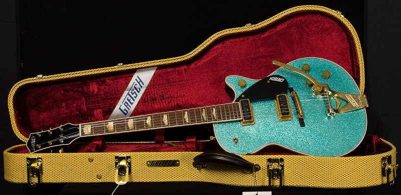 1957 Gretsch Turquoise Sparkle Duo Jet G6128 CS Relic 3_10