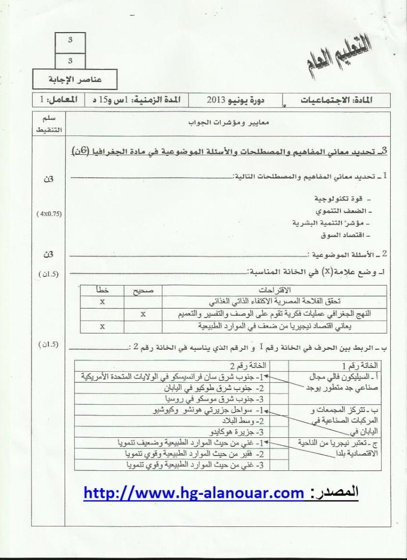 تصحيح الامتحان الجهوي في مادة الاجتماعيات - دورة يونيو 2013 - جهة سوس ماسة درعة 310
