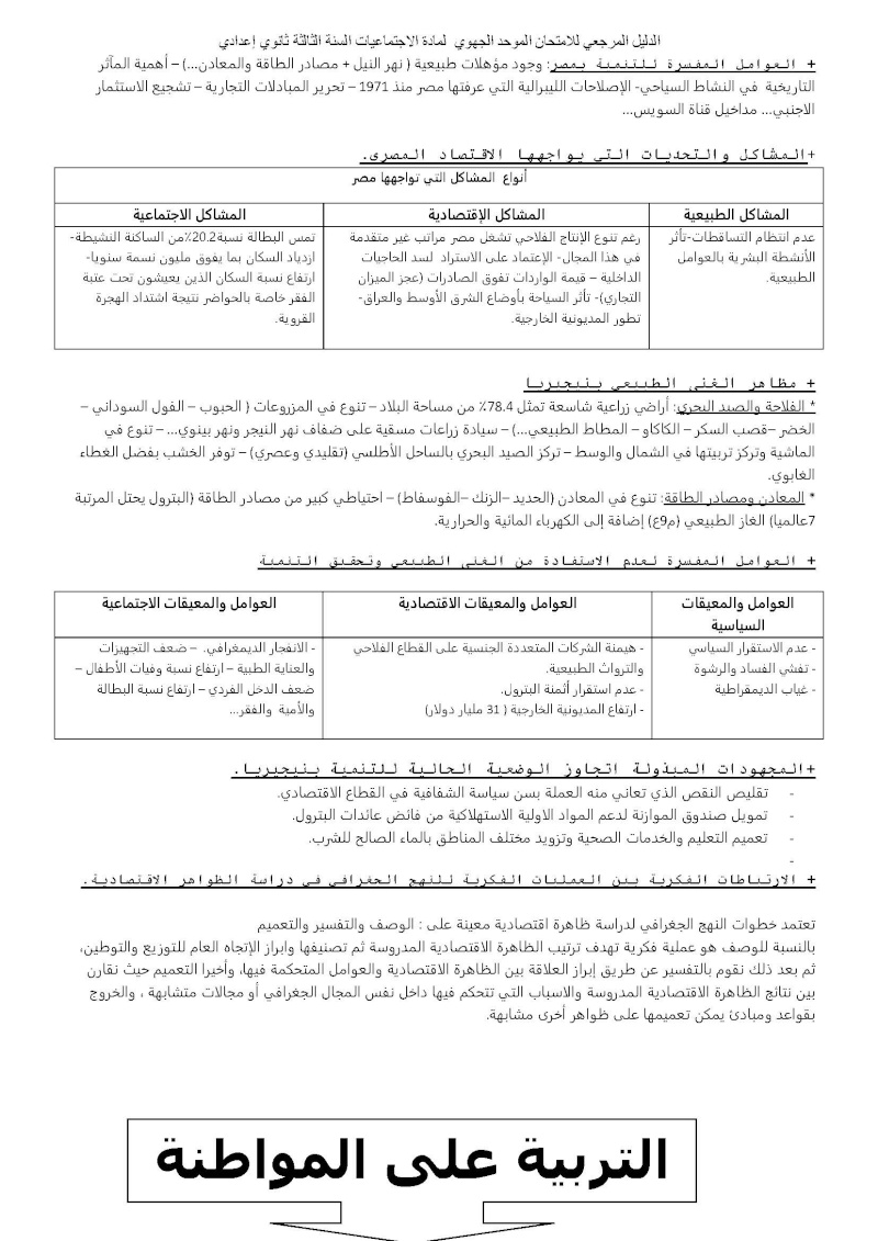 الدليل المرجعي للامتحان الموحد الجهوي مادة الاجتماعيات السنة الثالثة ثانوي إعدادي Ououus17