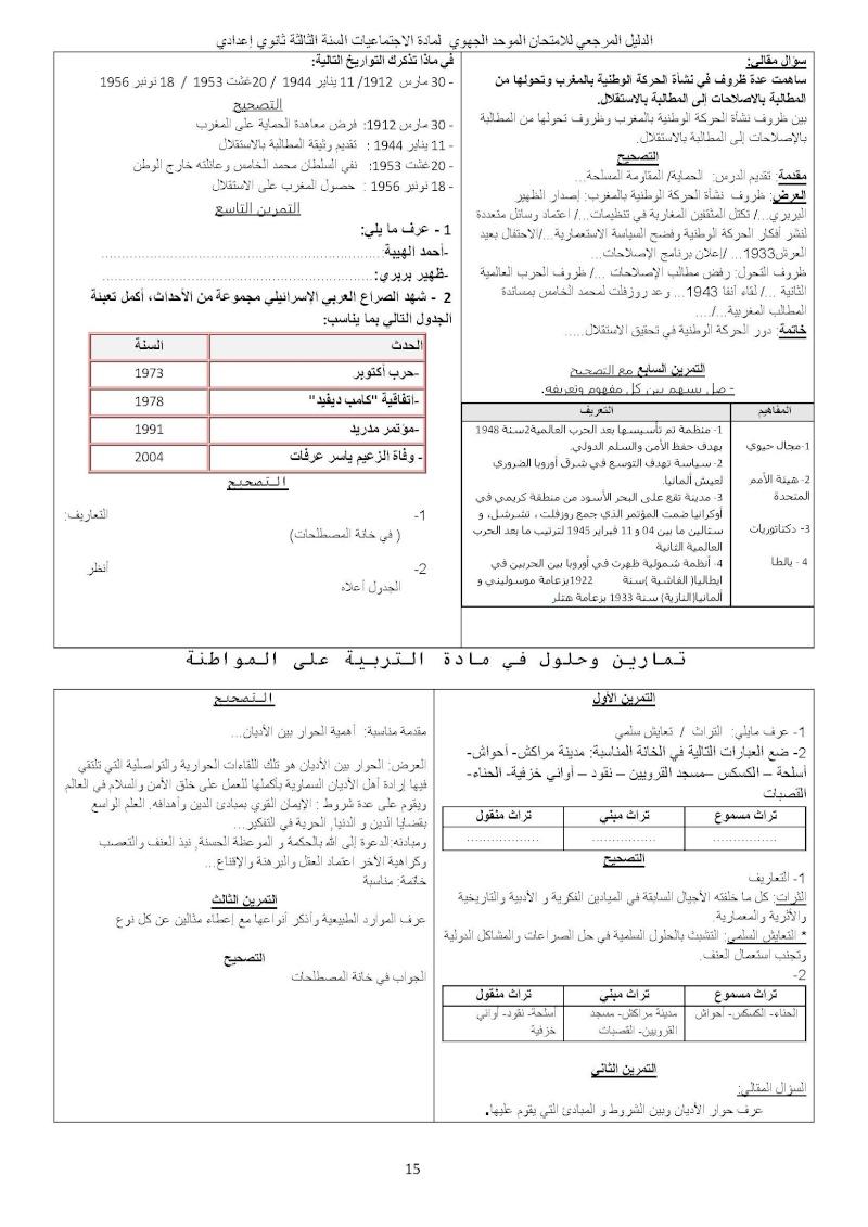 الدليل المرجعي للامتحان الموحد الجهوي مادة الاجتماعيات السنة الثالثة ثانوي إعدادي Ououus24