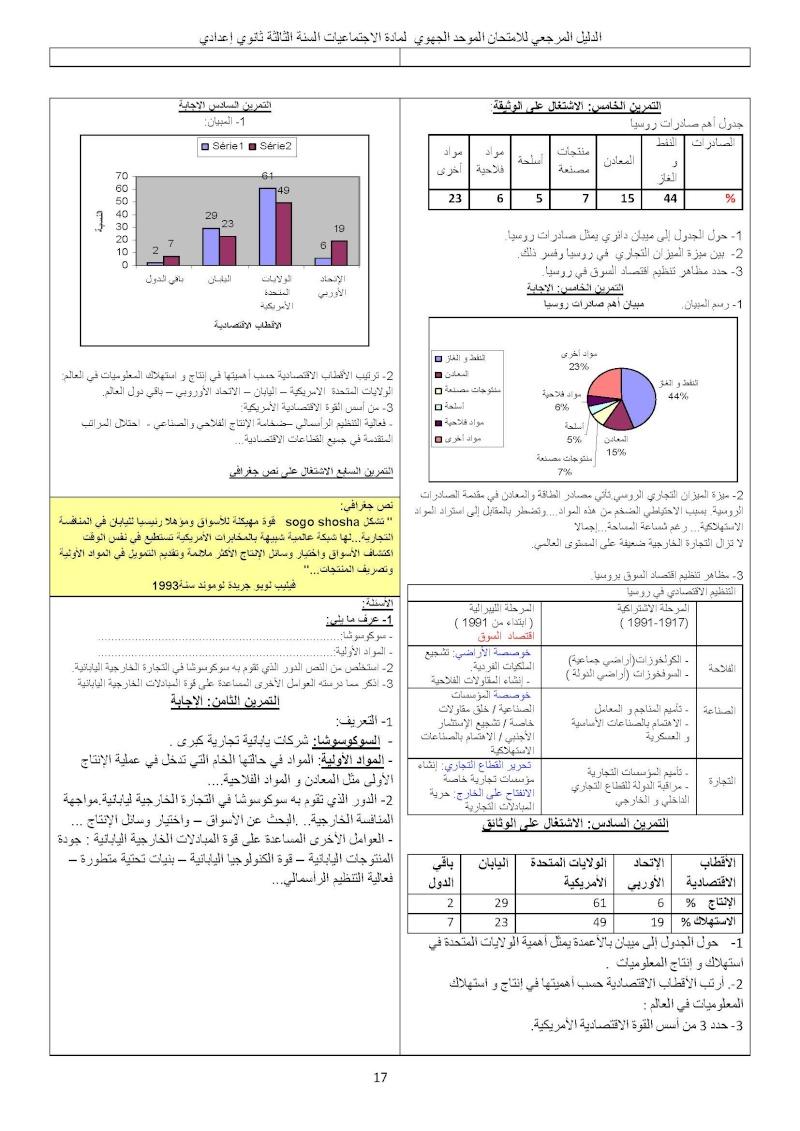 الدليل المرجعي للامتحان الموحد الجهوي مادة الاجتماعيات السنة الثالثة ثانوي إعدادي Ououus26