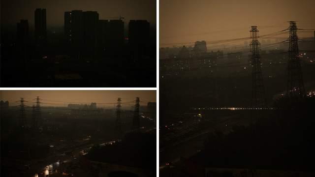 Pollution à Pekin : Il fait nuit à midi !  Noon10