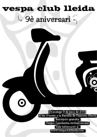 Novè Aniversari Vespa Club Lleida Cartel10