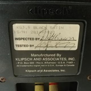 Klipsch KG 3.5 USA Made Horn tweeter floorstand speaker 20200175
