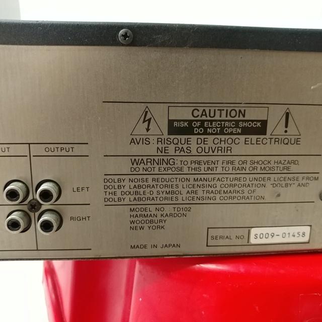Harman Kardon TD-102 Ultrawideband Linear Phase Cassette Deck Player 20210465