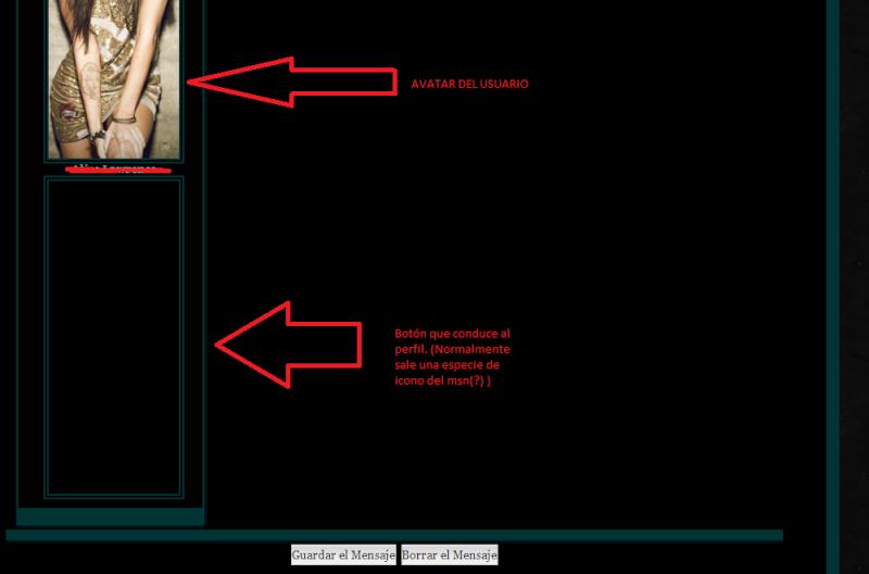 Al enviar un mensaje privado, aparece un hueco para otro avatar justo debajo del avatar del usuario. Sin_ta10