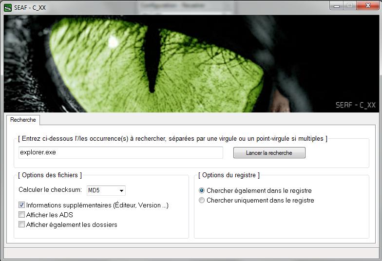 SEAF : pour trouver un(e) fichier/dossier/clé de registre Seaf_r10