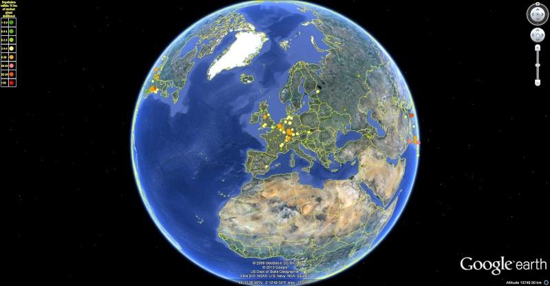Google Earth présente les populations à risque à proximité des centrales nucléaires !! Popula10