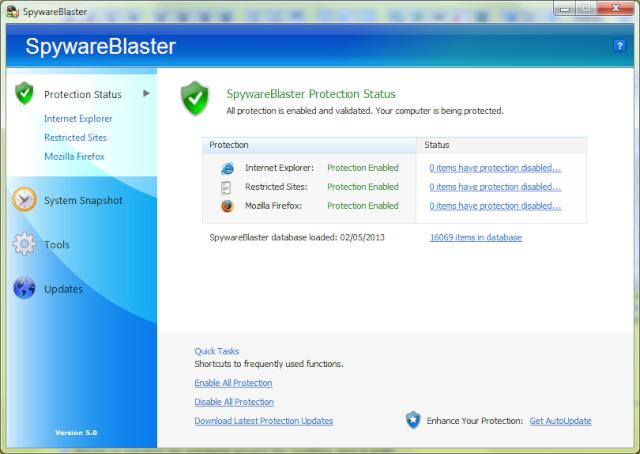 SpywareBlaster 5.0 Spywar10