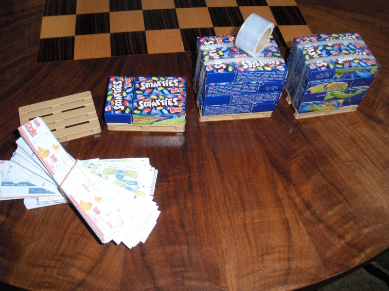 Bananenkarton Chiquita & Dole + Umzugskarton 1:14,5 Ladegut für Tamiya Rimg2911
