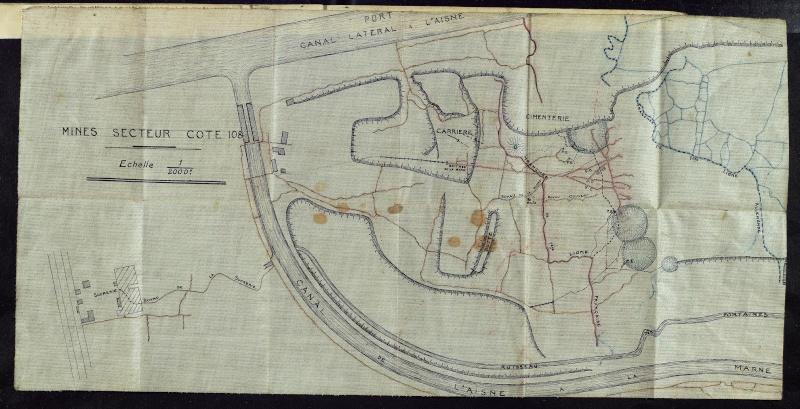 côte 108 , et ses environs en avril 1917 Cote-m11