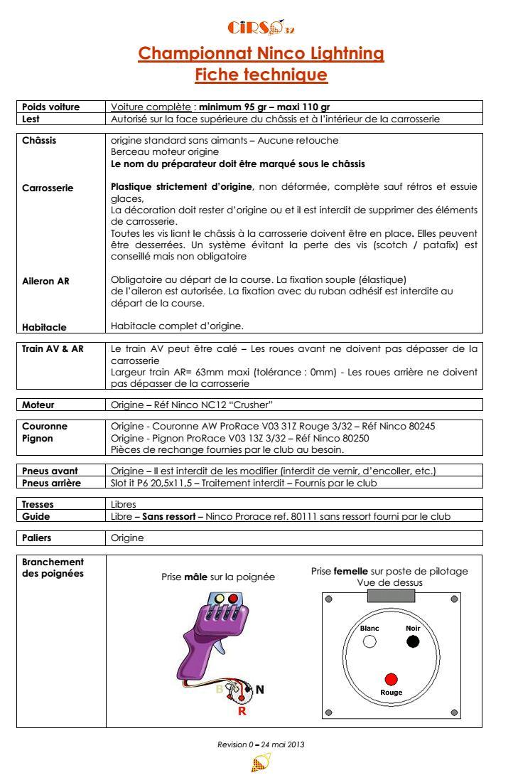 Règlement technique du championnat Ninco Lightning 2013 Nlr110
